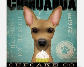 Chihuahua Cupcake Company original graphic illustration artwork on gallery wrapped canvas by stephen fowler