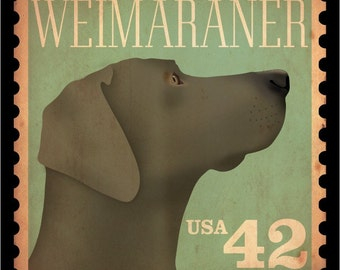 Weimaraner vintage style stamp artwork giclee archival print by stephen fowler Pick A Size