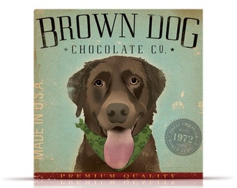 Brown Dog Chocolate Company graphic art on gallery wrapped canvas by stephen Fowler
