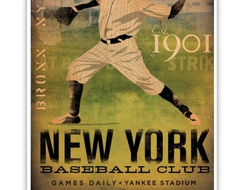 New York Yankees Baseball Club graphic artwork giclee archival print by Stephen Fowler PIck A Size