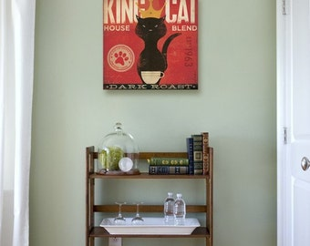 King Cat Coffee Company original illustration  graphic artwork on gallery wrapped canvas by stephen fowler