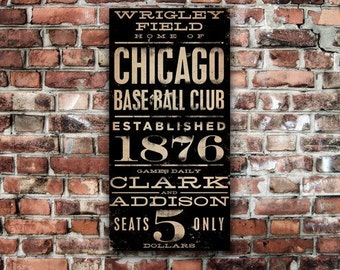 WRIGLEY FIELD chicago baseball typography art on gallery wrapped canvas by Stephen Fowler