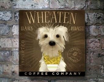 Wheaten Terrier Dark Roast Coffee company original illustration on gallery wrapped canvas by stephen fowler gemini studio