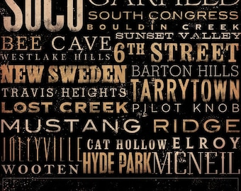 Austin Texas neighborhoods typography graphic art on canvas 18 x 24 by stephen fowler