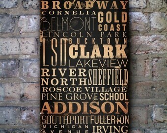 Chicago Streets and neighborhoods typography graphic word art on gallery wrapped canvas by stephen fowler