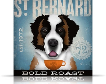 St. Bernard Coffee Company original graphic art on gallery wrapped canvas by stephen fowler