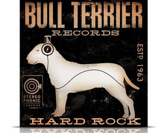 BULL TERRIER  records original graphic art illustration giclee archival print by stephen fowler PIck A Size