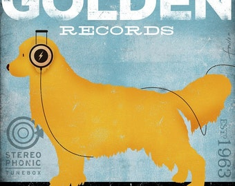 Golden Retriever Records original illustration artwork on gallery wrapped canvas by stephen fowler