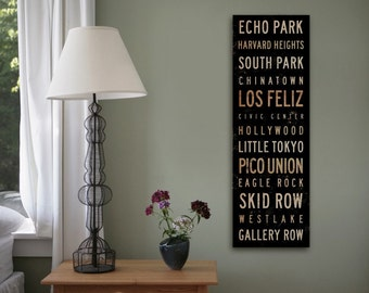 Los Angeles California neighborhoods typography graphic word art on gallery wrapped canvas
