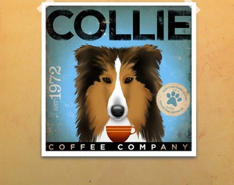 Collie coffee company graphic illustration print by Stephen Fowler