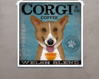 Welsh Corgi Coffee Company original graphic illustration giclee archival signed artist's print by Stephen Fowler PIck A Size