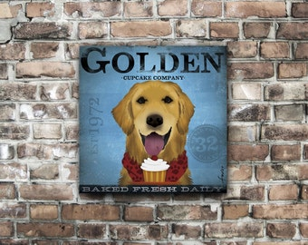 Golden Retriever Cupcake Company original graphic art illustration on gallery wrapped canvas by stephen fowler