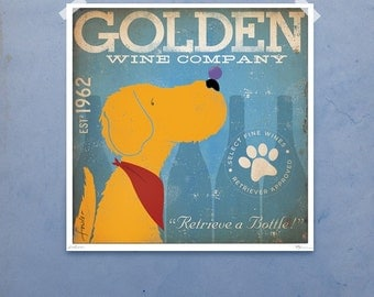 Golden Retriever Wine Company original graphic illustration giclee archival signed artist's print