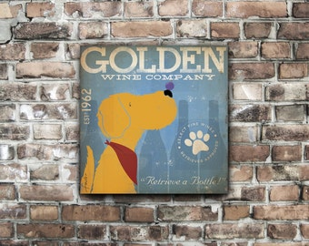 Golden Retriever Wine Company  illustration graphic art on gallery wrapped canvas by stephen fowler