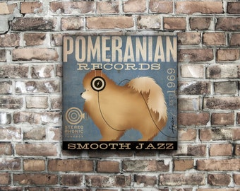 Pomeranian Records original graphic art illustration on gallery wrapped canvas  by stephen fowler