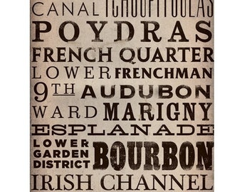 New Orleans Streets Typography graphic art on gallery wrapped canvas by stephen fowler