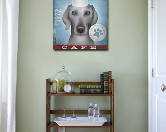 Grey Dog Cafe Weimaraner graphic art illustration on gallery wrapped canvas by stephen fowler