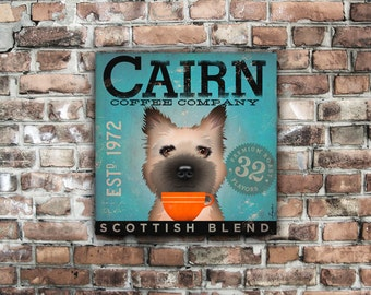 Cairn Terrier Coffee company original graphic illustration on gallery wrapped canvas by stephen fowler