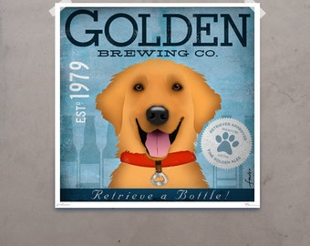 Golden Retriever Brewing Company original graphic illustration giclee archival signed artist's print