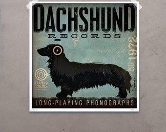 DACHSHUND records album style artwork original graphic illustration giclee archival print  by Stephen Fowler