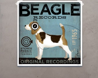 Beagle Records album style artwork original illustration giclee archival signed artist's print by stephen fowler Pick A Size