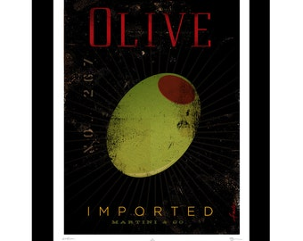 Olive vintage inspired original advertising style giclee archival print by Stephen Fowler
