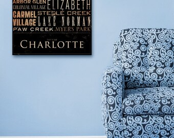 Charlotte North Carolina Typography graphic art on gallery wrapped canvas by stephen fowler