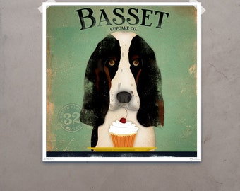 Basset Hound Cupcake Company original graphic illustration giclee archival signed artist's print by Stephen Fowler PIck A Size