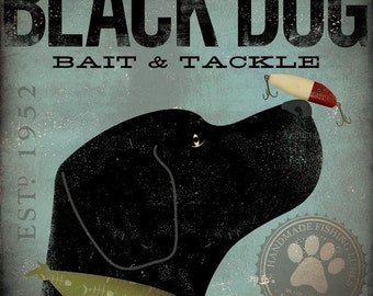 Black Dog Bait and Tackle company original illustration graphic art giclee archival signed artists print by Stephen Fowler PIck A Size