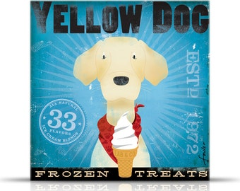 Yellow Dog Labrador Frozen Treats Company original graphic art gallery wrapped on canvas by stephen fowler