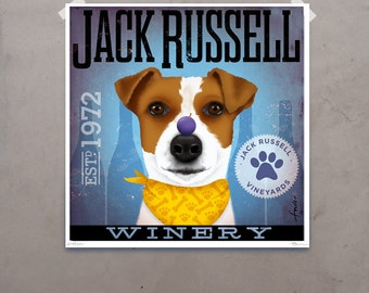 Jack Russell Winery artwork original graphic illustration signed archival artists print giclee by Stephen Fowler Pick A Size