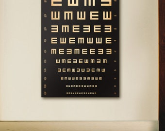 Tumbling E EYE exam chart vintage style graphic artwork on gallery wrapped canvas by stephen fowler