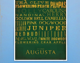 Augusta National Golf Club golf holes giclee archival signed artist's print by stephen fowler Pick A Size