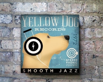 YELLOW DOG labrador records album style artwork on gallery wrapped canvas by stephen fowler