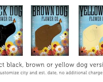 Labrador retriever dog flower company original graphic illustration giclee archival print by stephen fowler Pick A Size