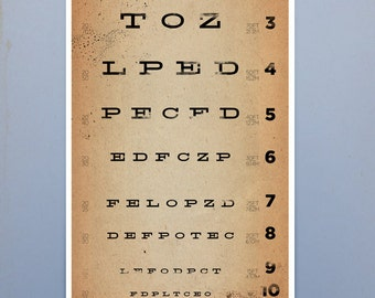 EYE exam chart vintage style graphic artwork giclee archival print by stephen fowler