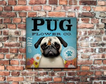 Pug Flower Company original graphic illustration on gallery wrapped canvas by stephen fowler