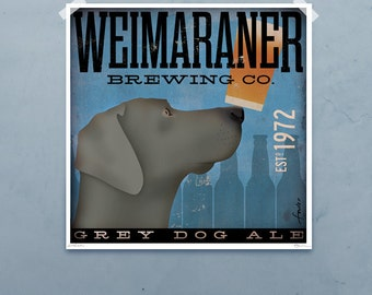 Weimaraner Brewing Company  original graphic illustration giclee archival signed artist's print by stephen fowler PIck A Size