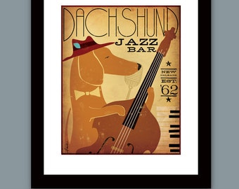 Dachshund Jazz Bar dog graphic illustration giclee archival signed print by Stephen Fowler