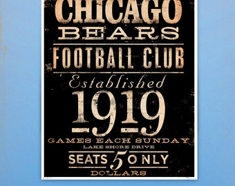 Chicago Bears Football club typography giclee archival print by stephen fowler geministudio Pick A Size