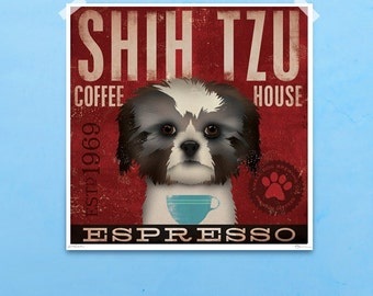 Shih Tzu Coffee Company original graphic illustration giclee archival signed artist's print by stephen fowler Pick A Size