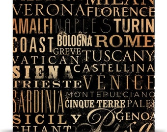 ITALY cities and regions typography on canvas artwork by stephen fowler