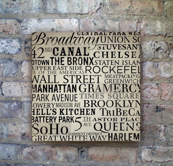 New York Streets, neighborhoods original graphic art collage on canvas  12 x 12 x 1.5