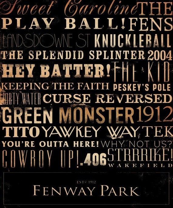 Fenway Park Red Sox typography original graphic giclee archival print by stephen fowler Pick A Size