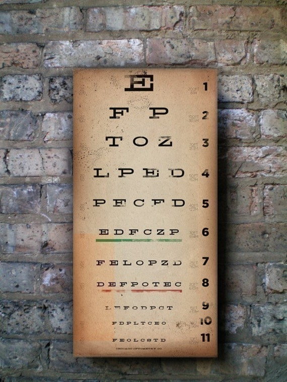 EYE exam chart vintage style graphic artwork on canvas 10 x 20 x 1.5 inches