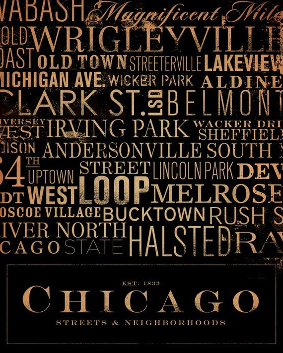 Chicago Streets Typography 8 x10 giclee archival print by stephen fowler