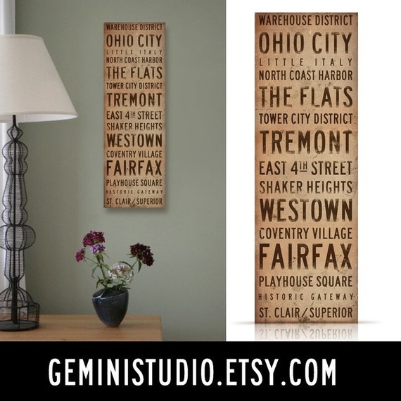 Cleveland Neighborhoods Canvas typography graphic art on gallery wrapped canvas by Stephen Fowler