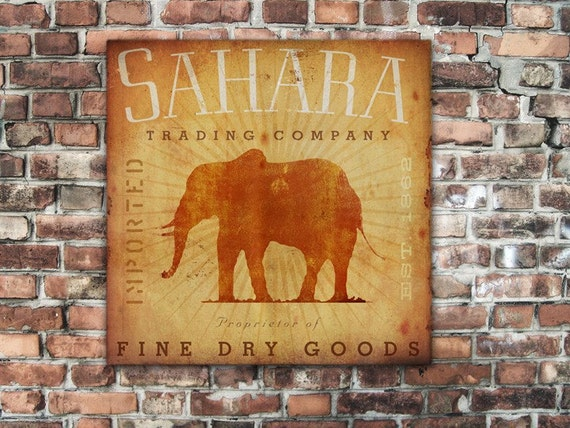 Sahara Trading Company Elephant vintage style graphic artwork on gallery wrapped canvas by stephen fowler