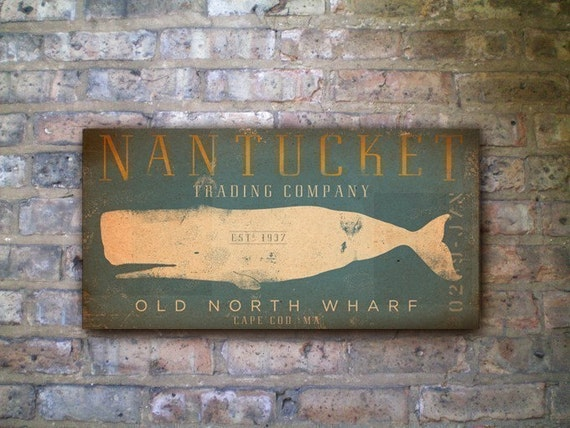 Nantucket Trading Company Whale original graphic art  on canvas 8 x 16 inches by stephen fowler