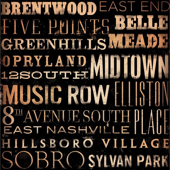 Nashville neighborhoods graphic typography collage on canvas artwork by gemini studio 12 x 12